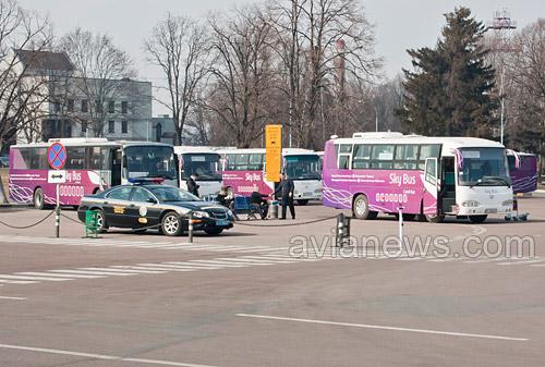 Поездка на автобусе skybus между